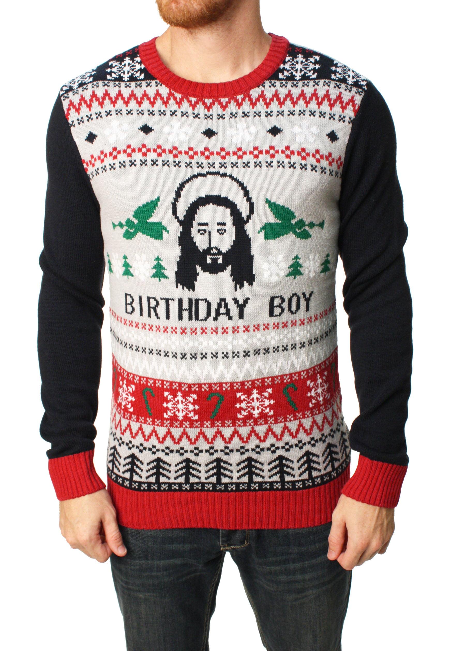 Ugly Christmas Sweater Ugly Christmas Sweater Men's Jesus Birthday Boy Pullover Sweater