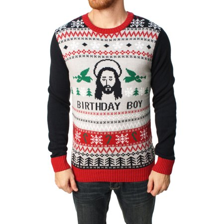 Ugly Christmas Sweater Men's Jesus Birthday Boy Pullover Sweater - Ugly Sweater Pics