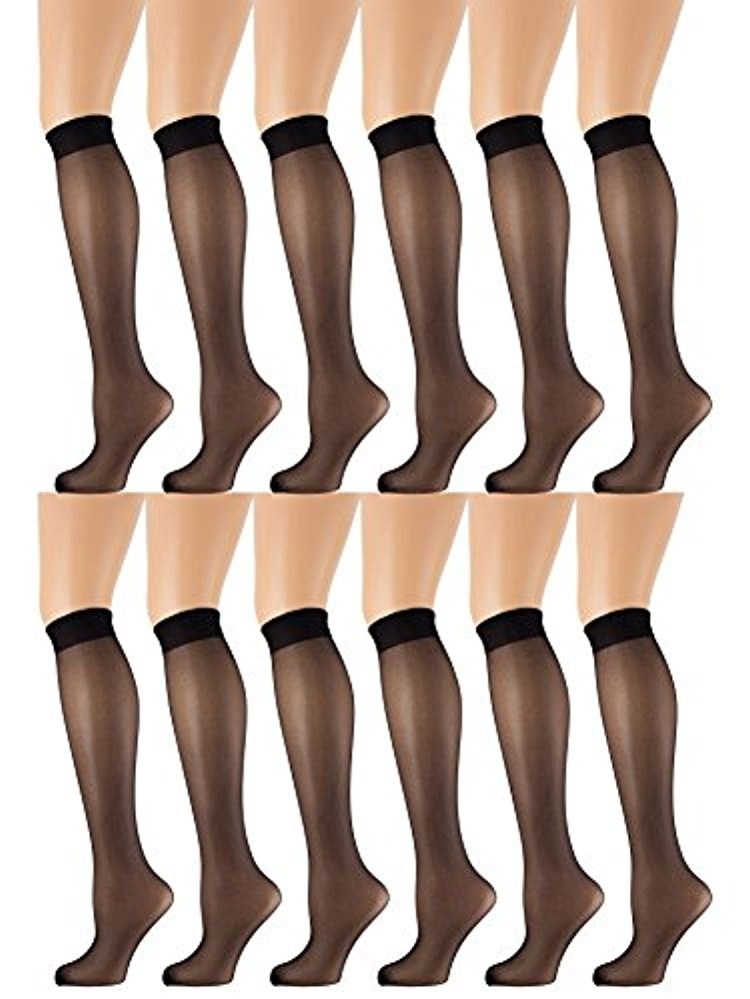 Yacht & Smith 12 Pairs of Sheer Trouser Socks for Women, 20 Denier Knee High Dress Socks (Oatmeal)