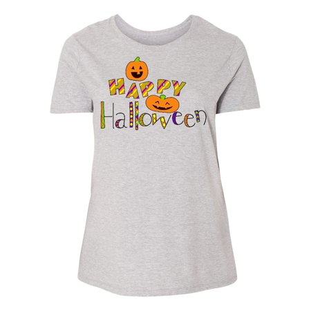 Happy Halloween- decorated letters with dancing pumpkins Women's Plus Size