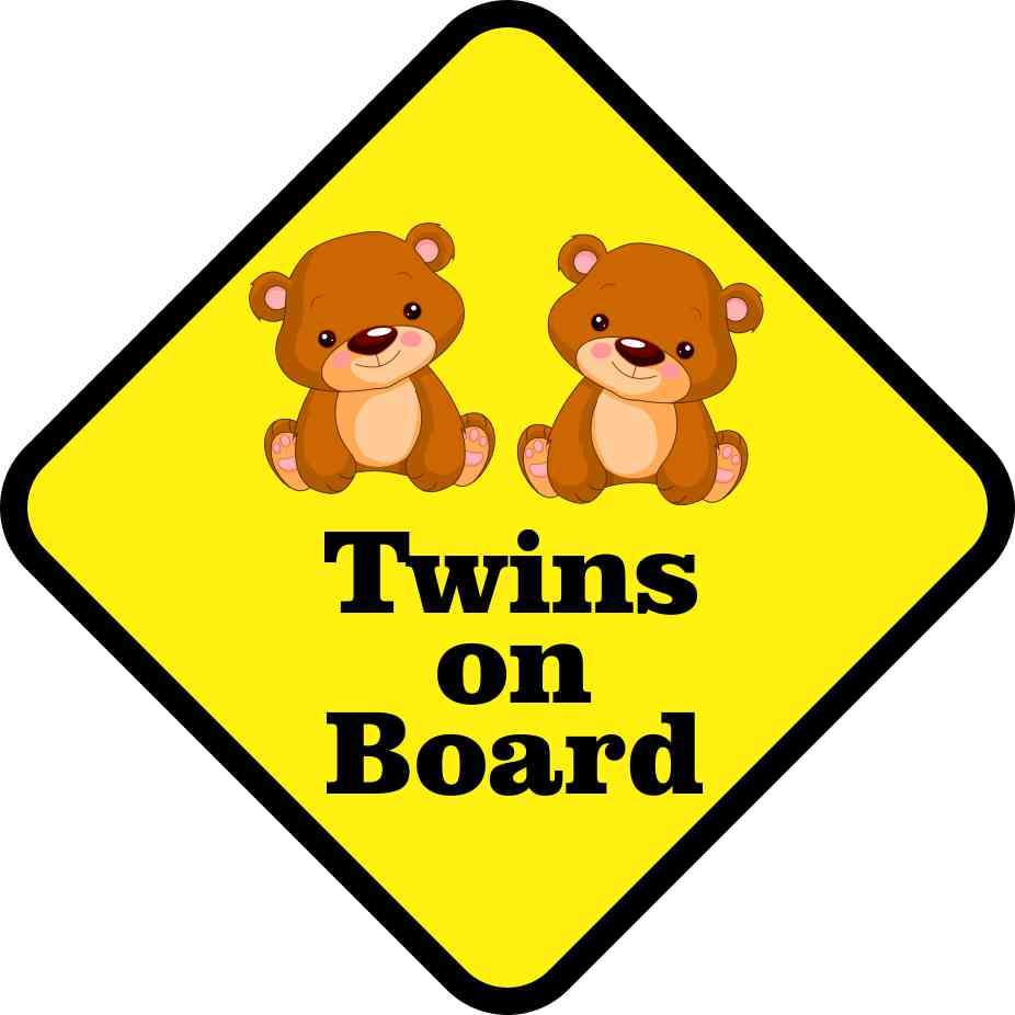 6in x 6in Girl Twins on Board Magnet