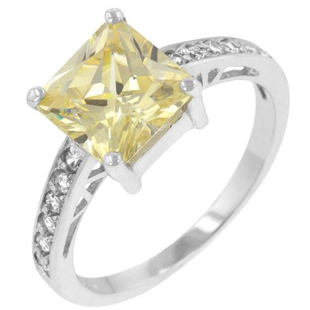 Kate Bissett R07052RS-C60-10 Genuine Rhodium Plated to .925 Sterling Silver Princess Isabella Ring with Jonquil CZ Center Stone and Shouldered Clear CZ Accents in Silvertone- Size 10