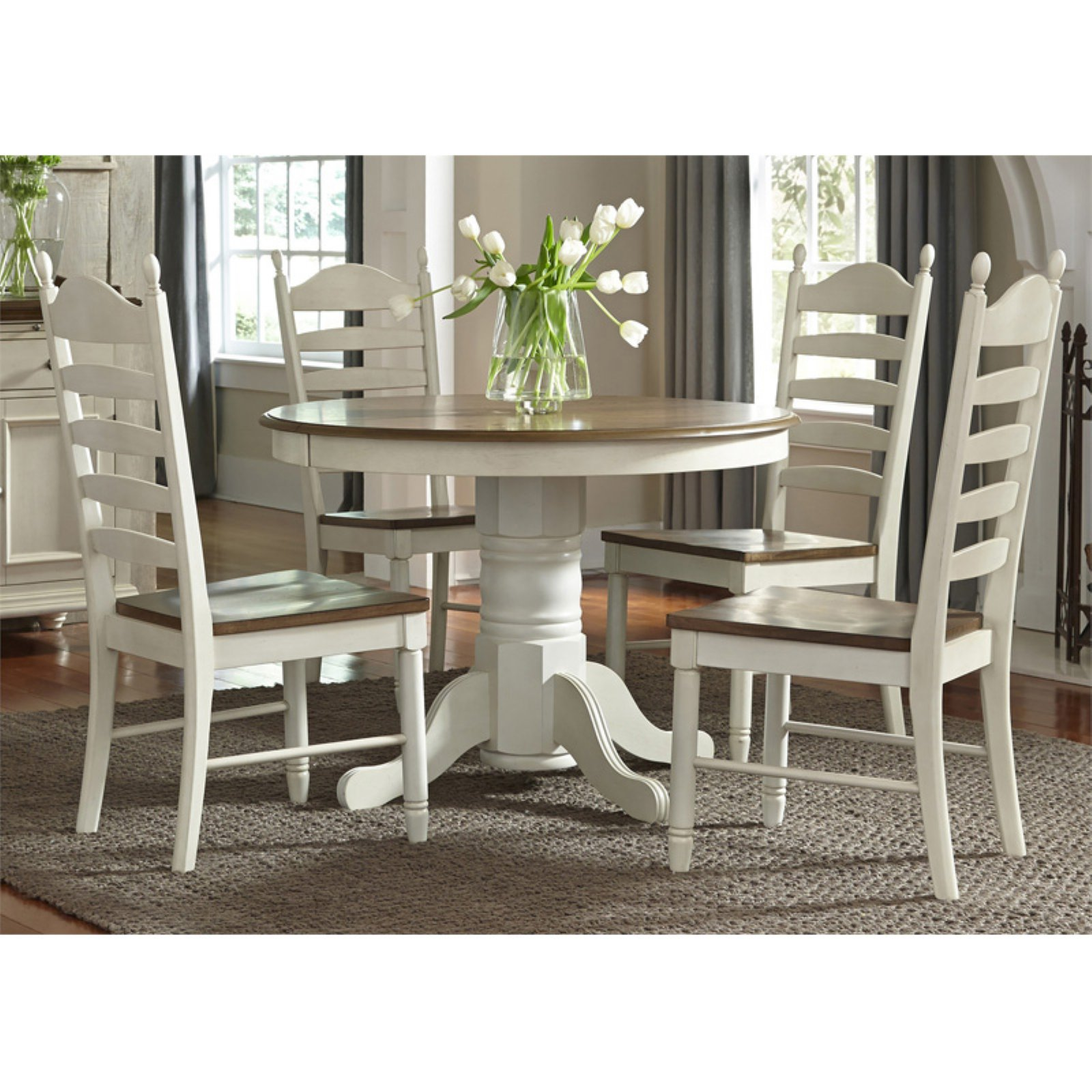 Liberty Furniture Industries Springfield 5 Piece Pedestal Extension Dining Table Set