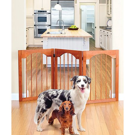 Wooden Folding Stand Alone Pet Dog Gate Wood Arch Style