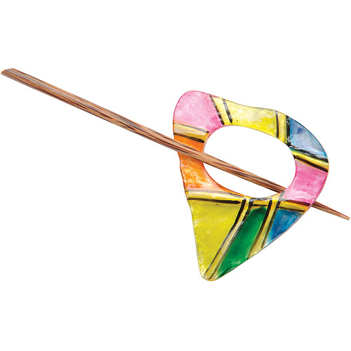 Capiz Shell Shawl Pin, Rainbow