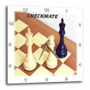 3dRose Chess Pieces With Word Checkmate - Wall Clock, 10 by 10-inch
