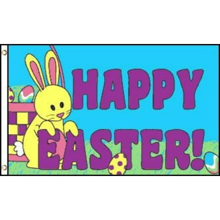 3x5 Happy Easter Flag Spring Holiday Banner Party Bunny Rabbit Pennant Outdoor, Home and Holiday Flags By Home and Holiday Flags,USA ()