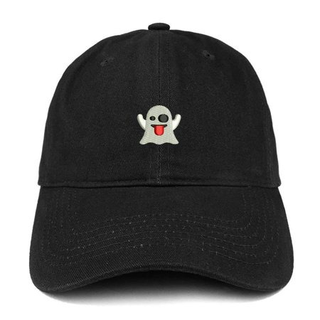 - Trendy Apparel Shop Ghost Emoticon Embroidered 100% Soft Brushed Cotton Low Profile Cap - Black