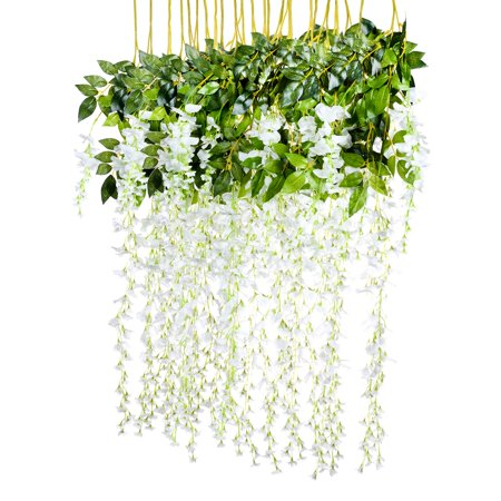 3.6 Feet Artificial flower Silk Wisteria Vine Rattan Fake Wisteria Garland Hanging Flowers for Home Garden Party Wall Wedding Decor,6 Pieces (WHITE - Fake Flower