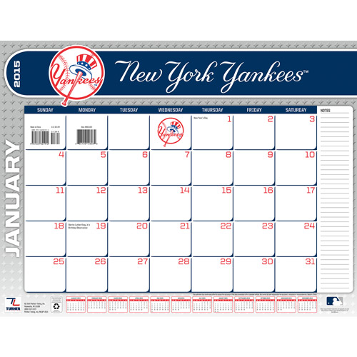 New York Yankees 2015 22 X 17 Desk Calendar Walmart Com