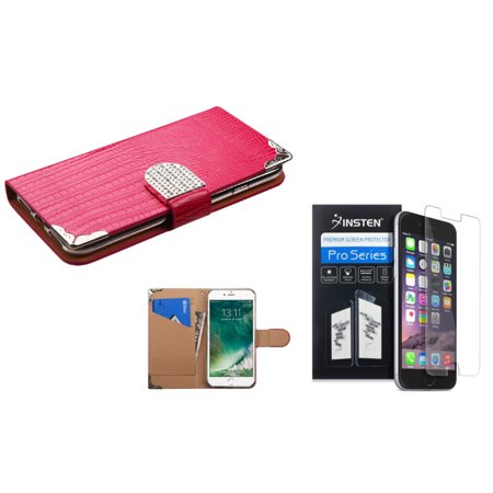 Insten for iPhone 7 - Clear Screen Protector + Hot Pink Crocodile Skin Wallet Leather Case (with Metal Diamonds (Pink Leather Skin)