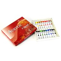 18 Color Acrylic Paint Set 12 ml Tubes Artist Draw Painting Rainbow Pigment