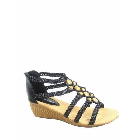New Ladies Brown Wedge Heel - Paramount-11 Women's Low wedge Heel Open Toe Braid Ankle strap Sandal Shoes