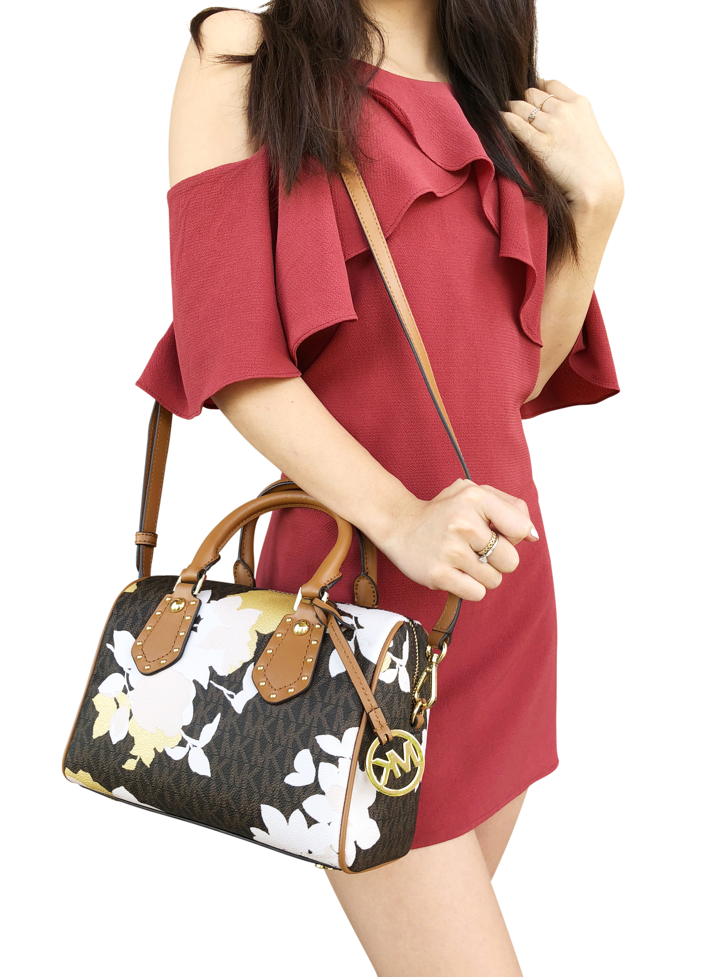 NWT Michael Kors Aria Small Top Zip Satchel Crossbody Brown MK Signature Floral