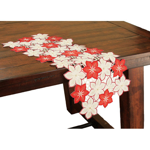 Xia Home Fashions Candy Cane Poinsettia Embroidered Cutwork Holiday Table Runner