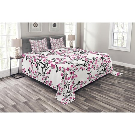 Cherry Blossom Bedspread Set, Sakura Tree with Flourishing Flowers and Birds Black Silhouettes, Decorative Quilted Coverlet Set with Pillow Shams Included, Black Hot Pink White, by Ambesonne