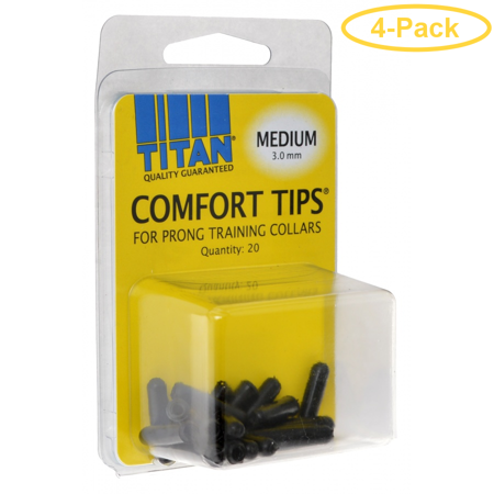 Titan Comfort Tips for Prong Training Collars Medium (3.0 mm) - 20 Count - Pack of 4