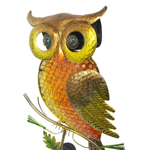 Continental Art Center Solar Owl Garden Stake