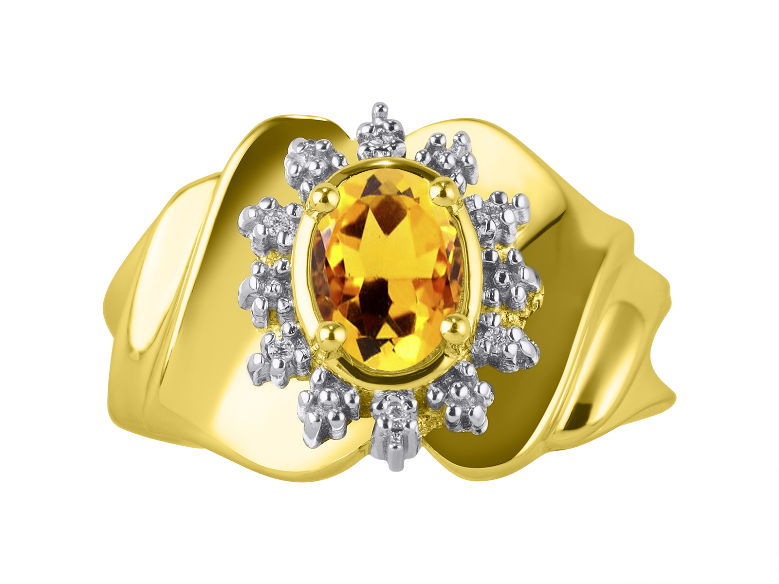 RYLOS Simply Elegant Color Stone   Birthstone / Gem StoneYellow Topaz /  Citrine & Diamond Ring   November Birthstone