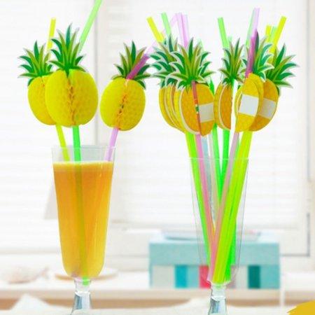 Girl12Queen 10Pcs 3D Pineapple Tropical Fruit Straw Beach Party Cocktail Drinking - Beach Straw Mat