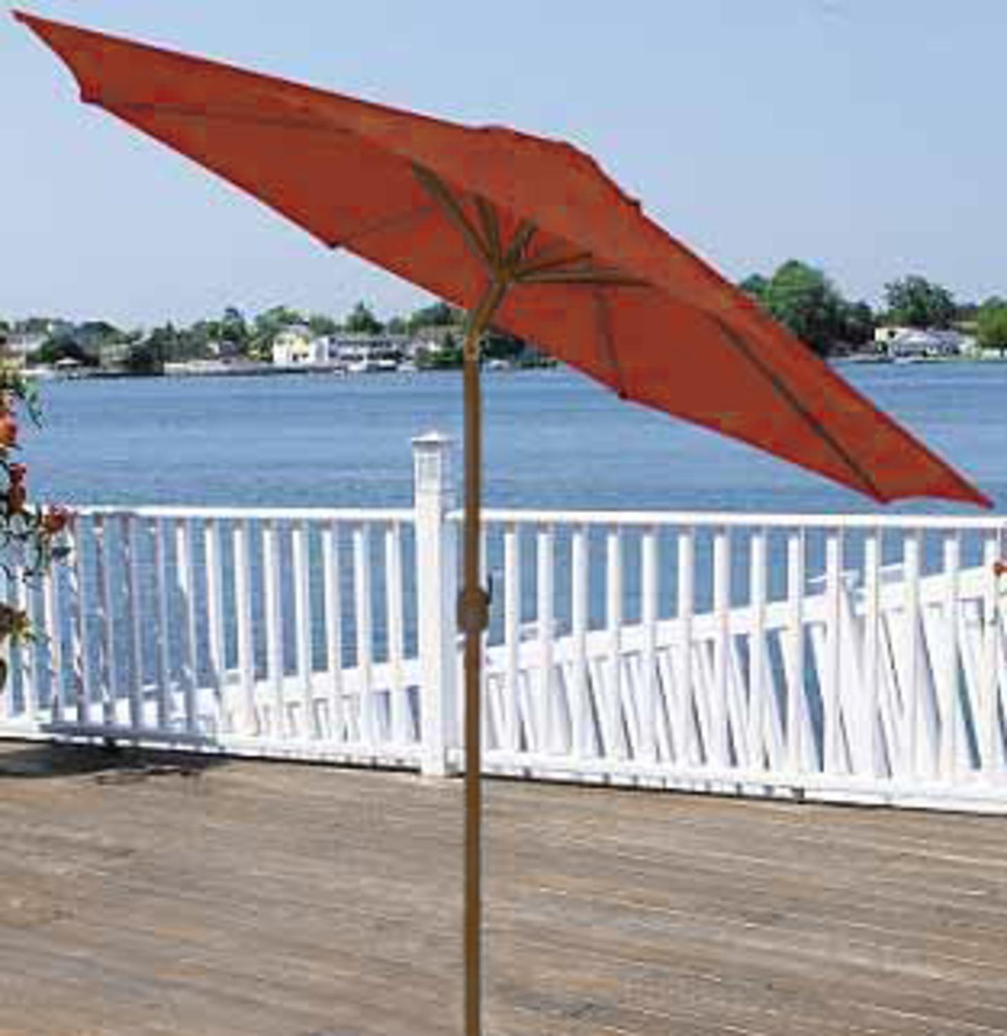 9u0027 Outdoor Patio Market Umbrella With Hand Crank And Tilt   Terra Cotta U0026  Brown