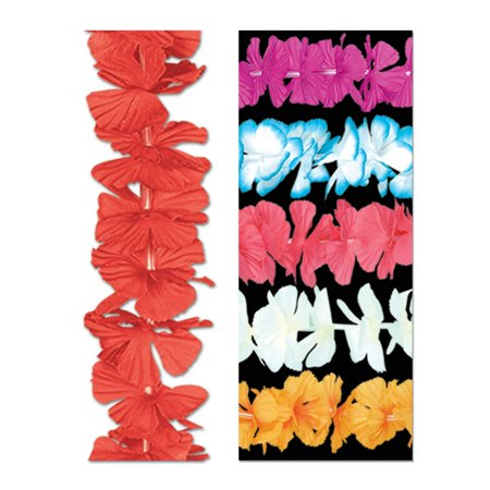 Pack of 12 Hawaiian Luau Multi-Colored Tropical Beach Party Flower Lei Necklaces 36