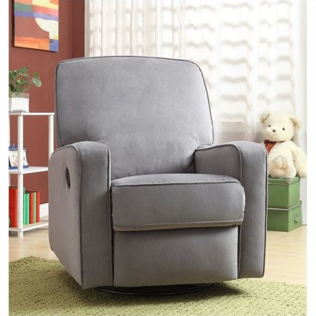 Kingfisher Lane Fabric Swivel Glider Recliner in Gray ()