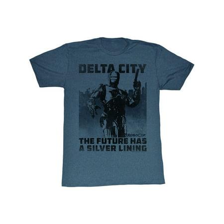 Robocop 1980's Action Crime Cop Movie Delta City Silver Lining Adult T-Shirt](Cop Shirt)
