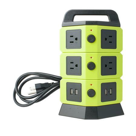 110V-250V 7 US Socket 4 USB 2100mA Power Outlet Vertical Multi-Socket Green 2x65 Watt Power Compact