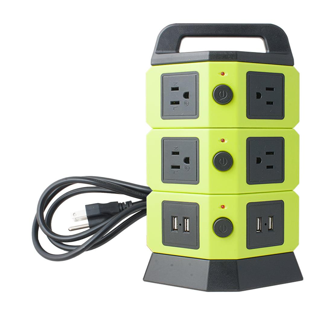 110V-250V 7 US Socket 4 USB 2100mA Power Outlet Vertical Multi-Socket Green