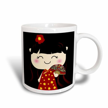 Gold Trimmed Fine China (3dRose Cute Kawaii Cartoon Japanese Chinese Girl Doll in traditional red gold Dress and fan - japan china, Ceramic Mug, 11-ounce)