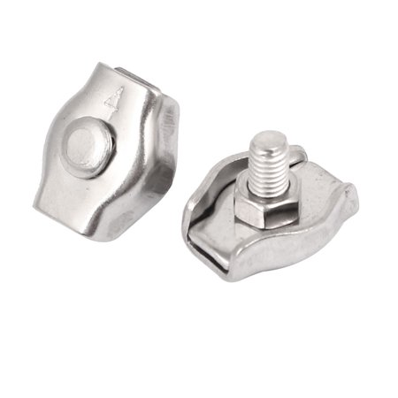 M4 304 Stainless Steel Simplex Single Post-style Wire Rope Clip Clamp 2PCS