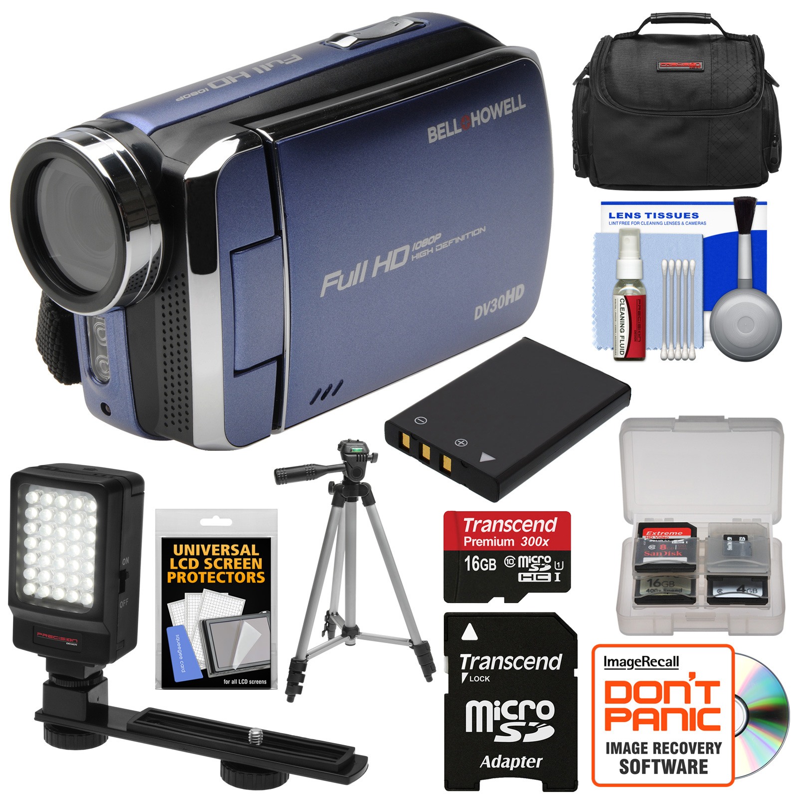 Bell & Howell DV30HD 1080p HD Video Camera Camcorder (Blue) with 16GB Card + Battery + Case + Tripod + LED Video Light + Kit