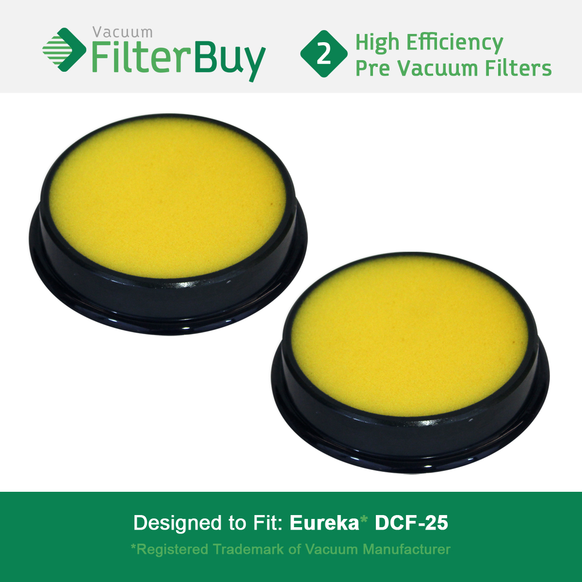 2 - Eureka DCF25 (DCF-25) Washable & Reusable Filters, Eureka Part # 67600 & Electrolux Part # 82982.  Designed by FilterBuy to fit Eureka Airspeed, SuctionSeal & Endeavor NLS.