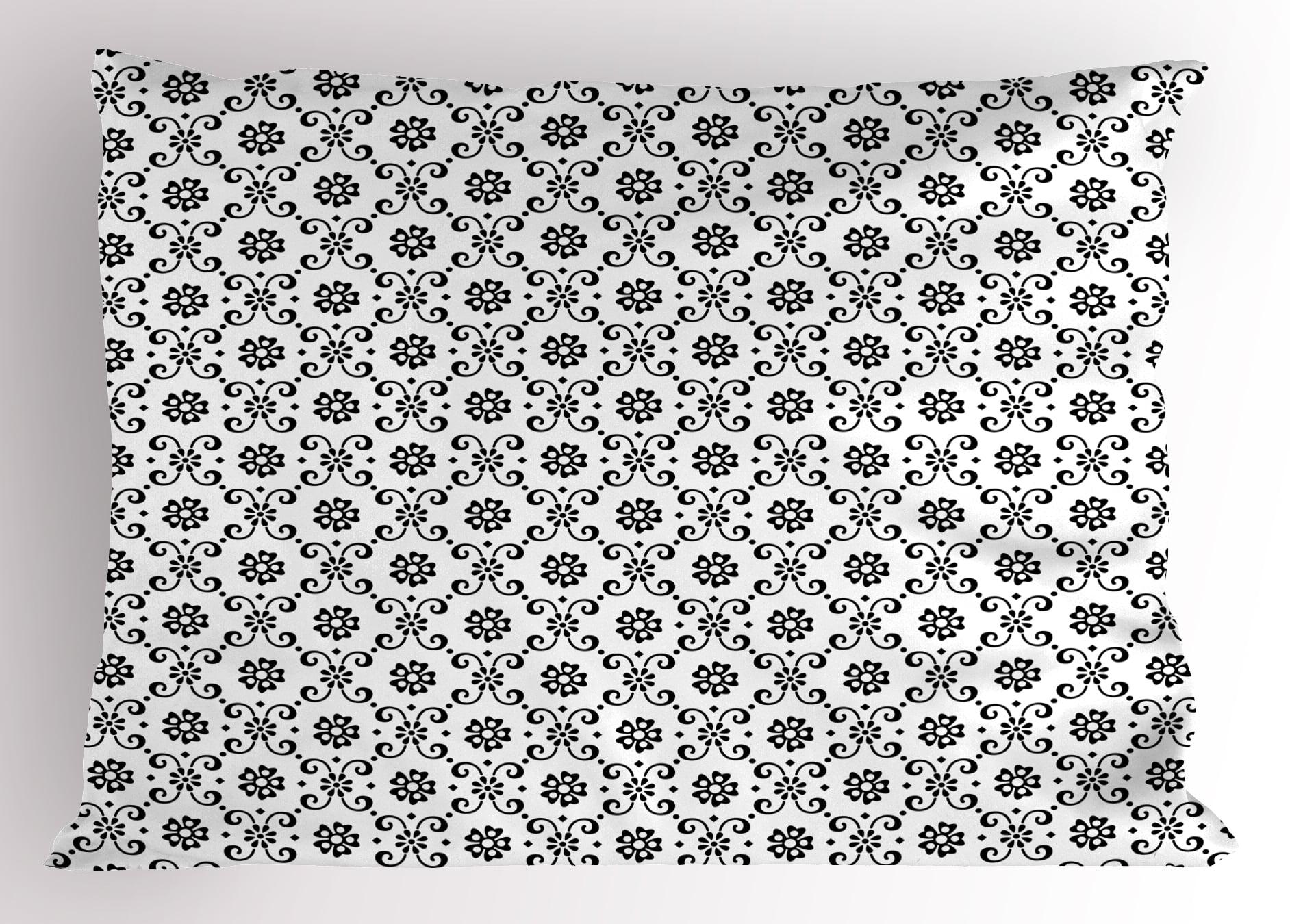 Black And White Pillow Sham Monochrome Floral Arrangement