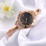 【MIARHB】Fashion Ladies Women Unisex Stainless Steel Rhinestone Quartz Wrist Watch Black ( watch for women )