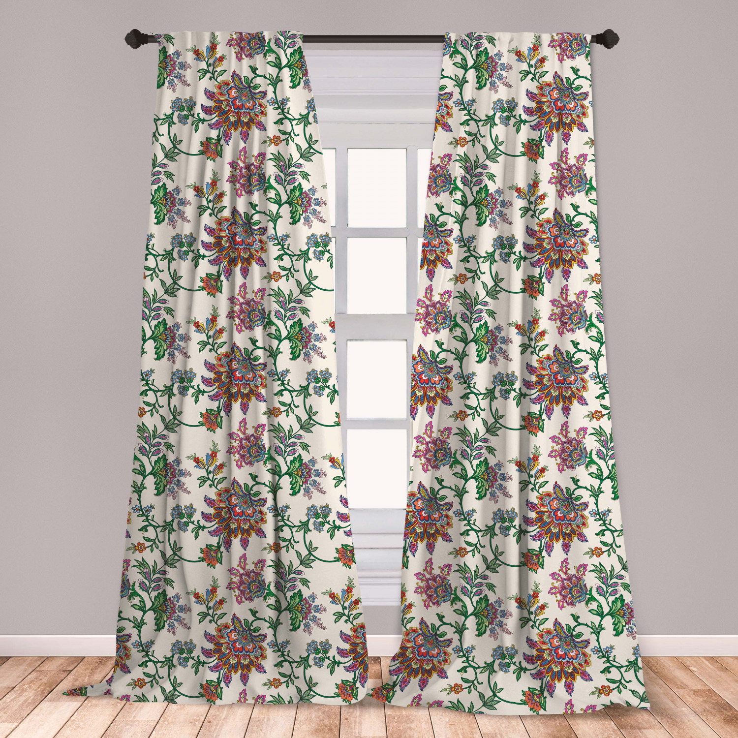 ColorBird Geometric Semi-Blackout Window Curtains 2 Panels Bohemian Style Cotton Linen Curtains with Pom Pom Rod Pocket Window Drapes for Dining Living Room Bedroom 52 W x 63 L, Geometric