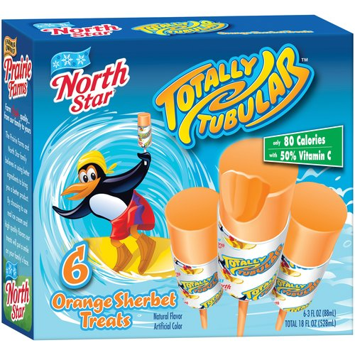 Ice Cream Specialties North Star  Totally Tubular Orange Sherbet Treats, 6 ea
