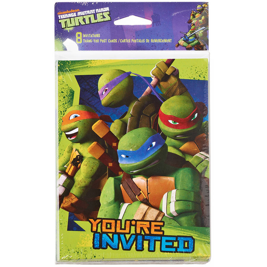 Teenage Mutant Ninja Turtles Invite and Thank You Combo, 8 Pack, Party Supplies