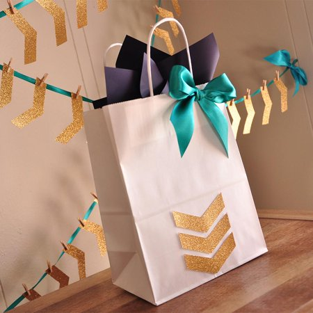 Tribal Baby Shower Gift Bag. Ships in 1-3 Business Days. Large White Paper Bags with Glitter Gold Chevron. Boho Gift Ideas. W8KFT.