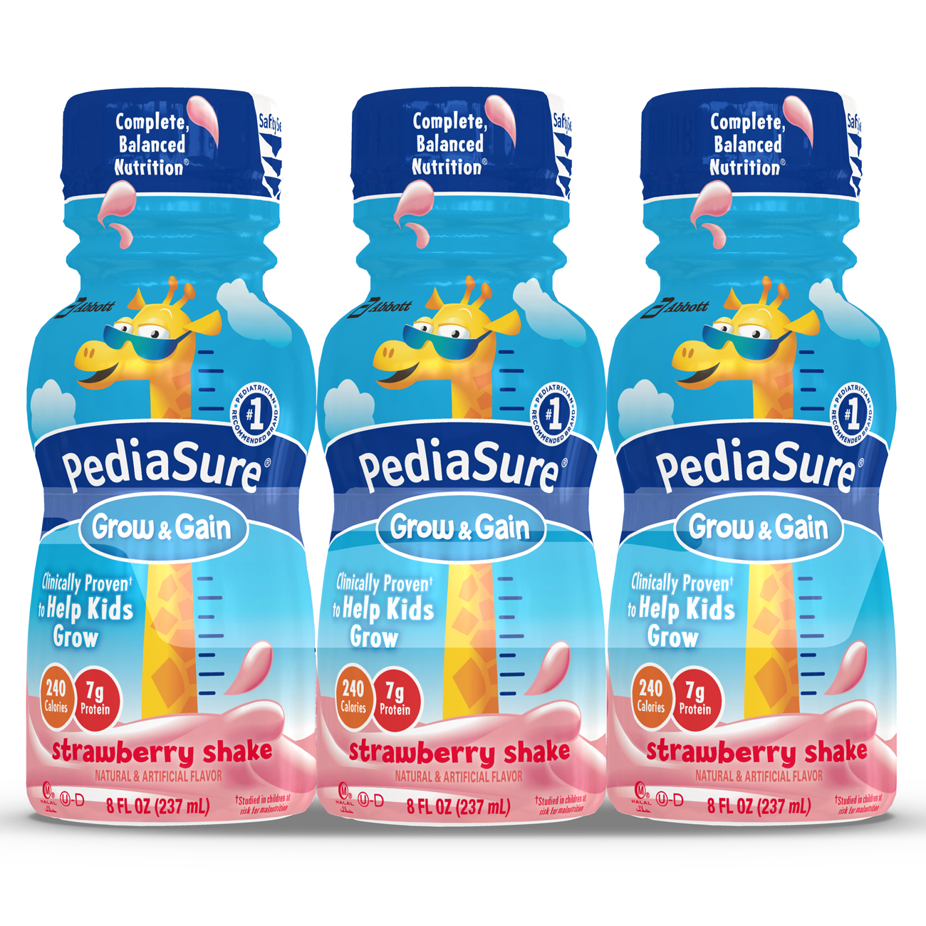 PediaSure Grow & Gain Nutrition Shake For Kids, Strawberry, 8 fl oz (Pack of 6)