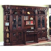 Library Desk w Glass Door Cabinet and Outside Corner