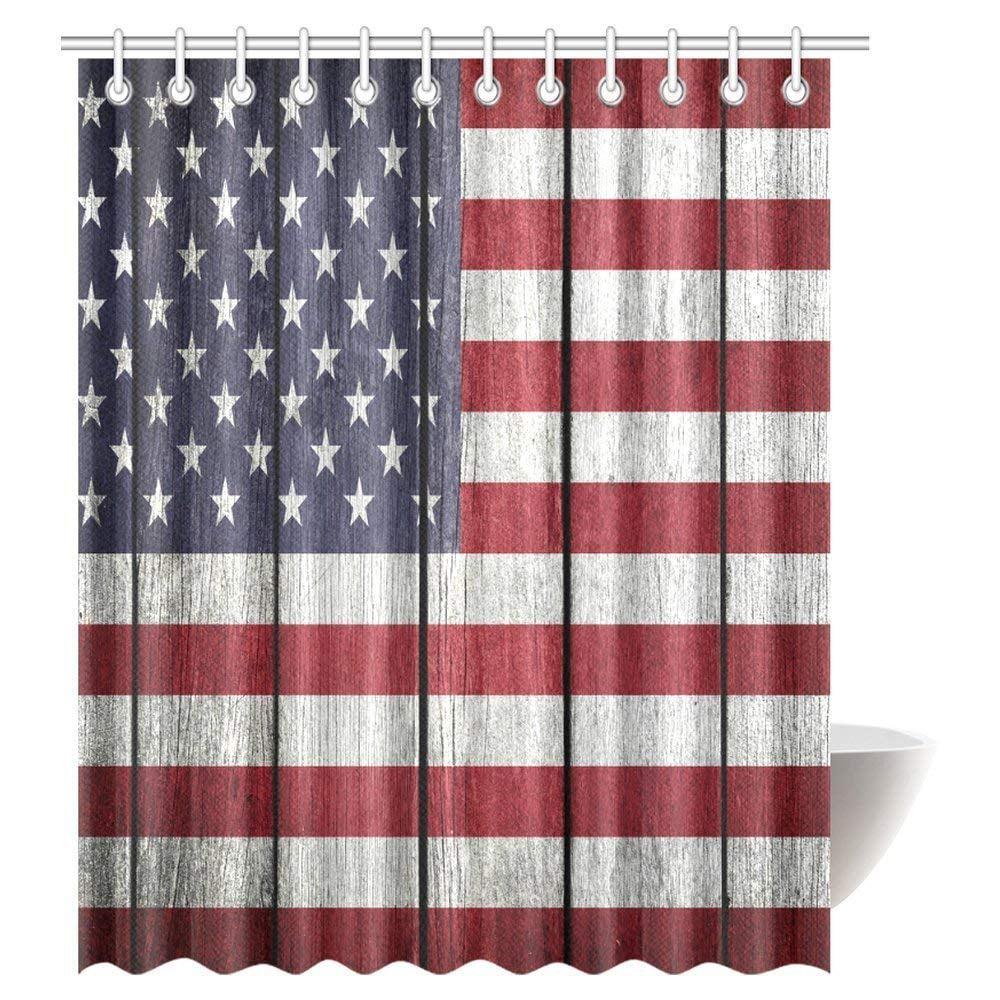 United States USA Flag Shower Curtain Fabric Waterproof Bathroom Accessory Sets