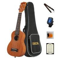 UBETA  Soprano Ukulele 21 Inch Beginner Travel Mahogany Ukulele Bundle with Gig bag, clip-on tuner, picks,strings chord card and strap