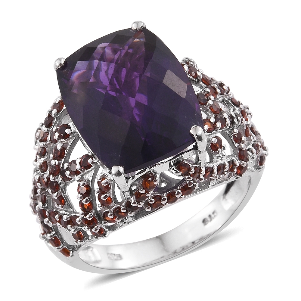 Amethyst, Garnet Platinum Plated Silver Ring 10.37 cttw. Size 6 by Shop LC