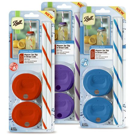 Sip Straw - Wide Mouth Sip & Straw Lids, Assorted Colors,Includes 4 caps and 4 straws, Assorted colors, red, purple and blue By Ball