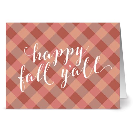 Fall Card (24 Holiday Note Cards - Happy Fall Y'all - Blank Cards - Kraft Envelopes)