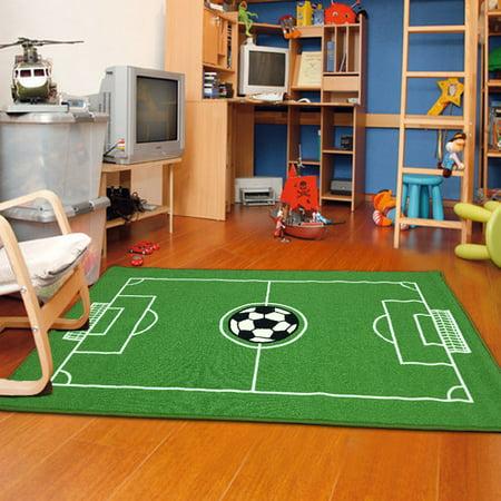University Bulldogs Soccer Ball Rug (Soccer Ground Kids Area Rug)