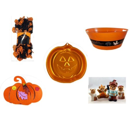 "Halloween Fun Gift Bundle [5 Piece] -  Black & Orange Pumpkin Garland 10 ft. - 17.75 Inch Orange ""Happy "" Party  Tub - Wilton Iridescents Jack-O-Lantern Pan -  Felt Pumpkin Decoration - Homco  Set N"