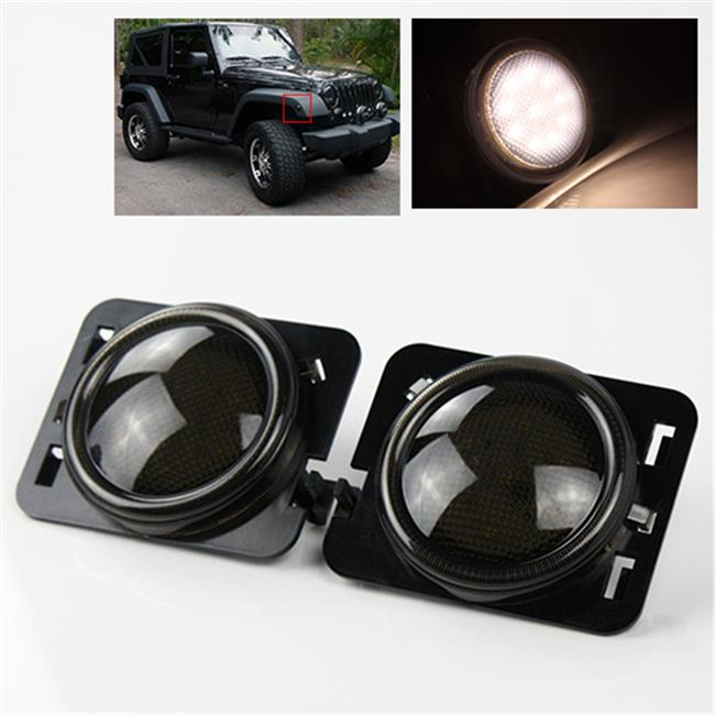 TurboMetal Smoke LED Side Marker Lights for Jeep JK 2007-2015 - White